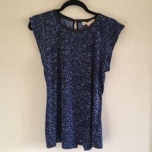 Michael Kors Printed Blue Short Sleeve Top
